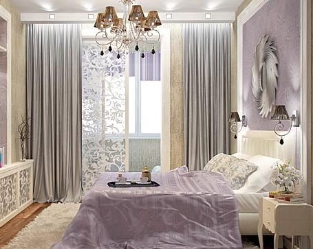 Спальня в лилово-бежевых тонах