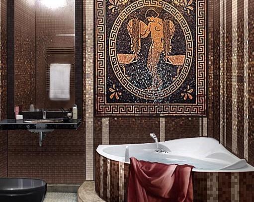 Античная мозаика, использованная в ванной комнате